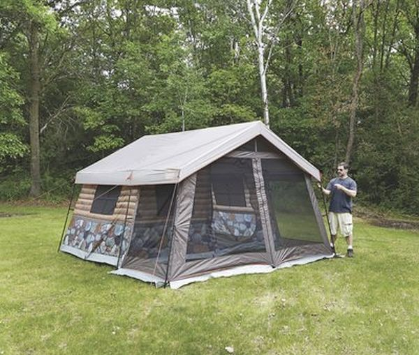 Best Camping Tents With Screened Porch - Timber Ridge 8-Man Log Cabin Tent