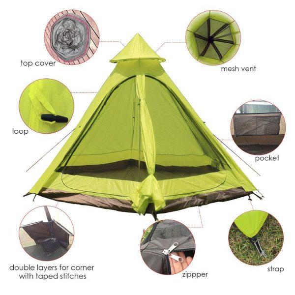 Hasika 12fx10x8ft Lightweight Teepee Tent