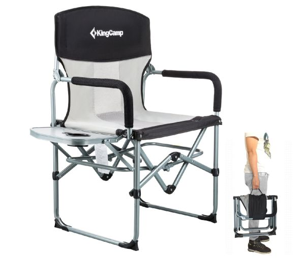 KingCamp Heavy Duty Compact Folding Mesh Chair with Side Table and Handle