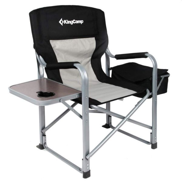 KingCamp Heavy Duty Folding Director Chair with Cooler Bag and Side Table