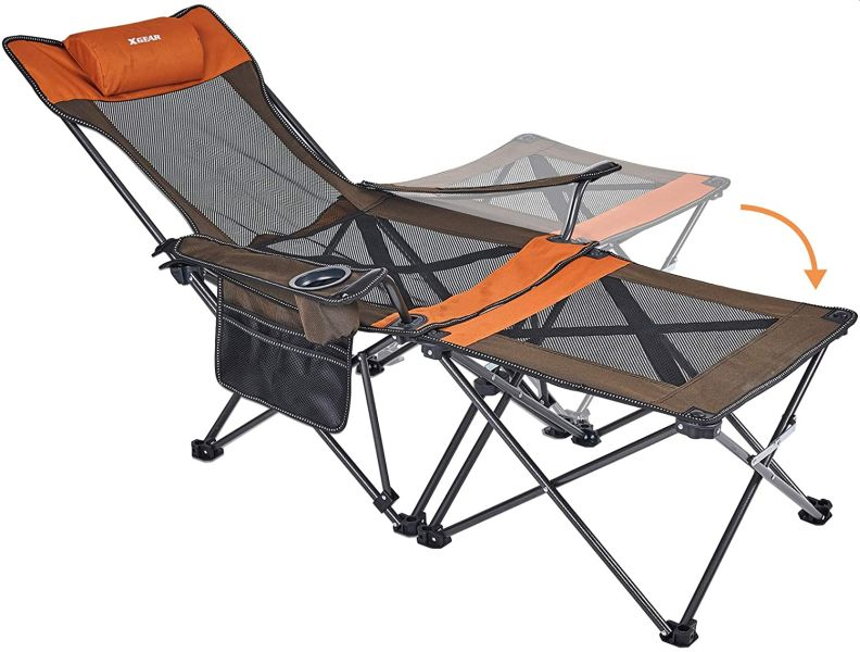XGEAR 2 in 1 Folding Camping Chair Portable Lounge Chair with Detachable Table