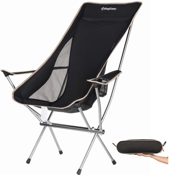 KingCamp Ultralight Compact Strong High Back Folding Chair with Armrest
