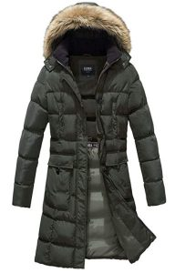ELORA Women's Winter Puffer Mid Length Cargo Pocket