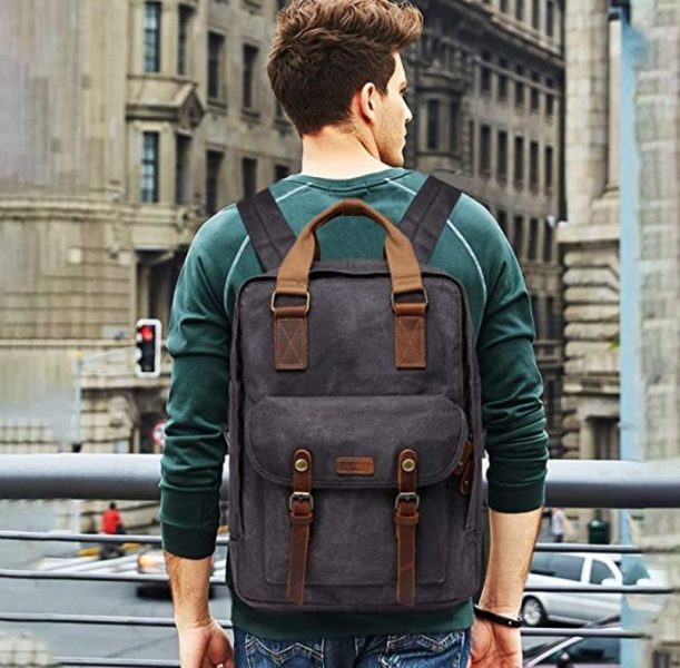 VASCHY Vintage Waxed Canvas Anti-theft Backpack
