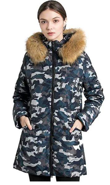 Valuker Women's Down Coat With Fur Hood
