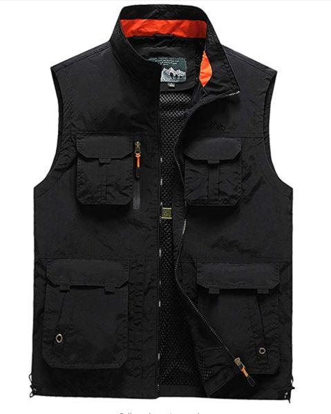 Flygo Men's Casual Outdoor Work Jacket Multi Pockets