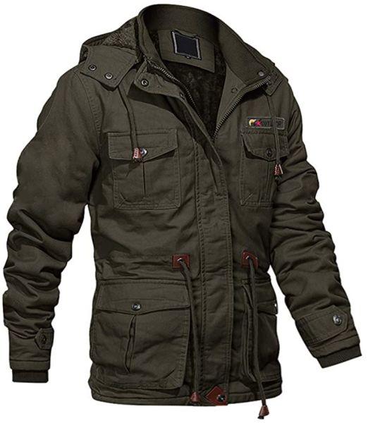 MAGCOMSEN Men's Winter Cargo Jacket with Multi Pockets